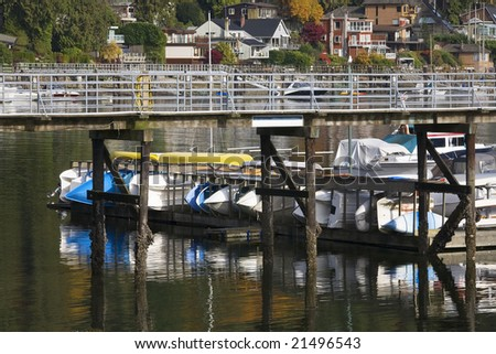 Deep Cover Harbor Boats Pier Reflections Vancouver British Columbia Canada - stock photo