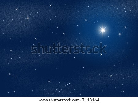 Deep dark night scene with starry sky