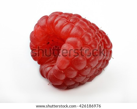 Deep focus of raspberry isolated on white background  - stock photo