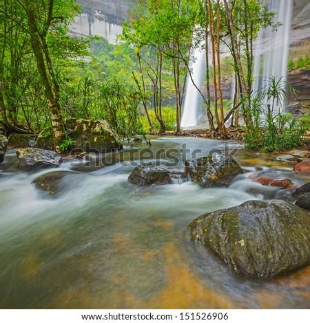 Deep Forest beautiful waterfall at Huai Luang Waterfall in Ubon Ratchathani, Thailand  - stock photo