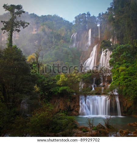 Deep Forest beautiful waterfall at Thi Lo Su, Tak, Thailand - stock photo