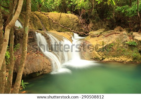 Deep forest Huay Mae Kamin waterfall Kanjanaburi Thailand - stock photo