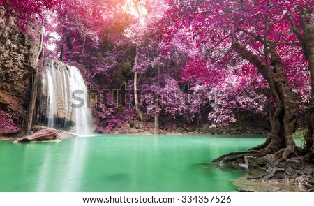 Deep forest waterfall at Erawan waterfall National Park Kanchanaburi Thailand - stock photo