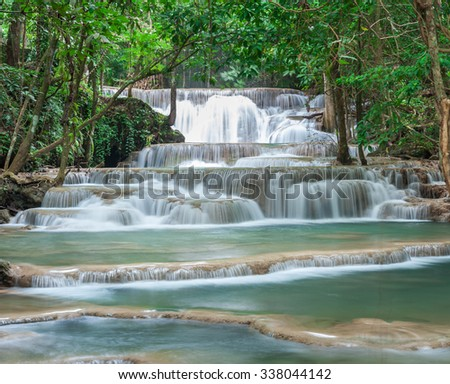 Deep forest waterfall at Huay Mae Kamin waterfall National Park Kanchanaburi Thailand - stock photo