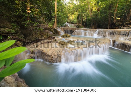 Deep forest Waterfall in Kanchanaburi (Erawan), Thailand
