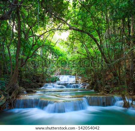 Deep forest Waterfall in Kanchanaburi, Thailand - stock photo