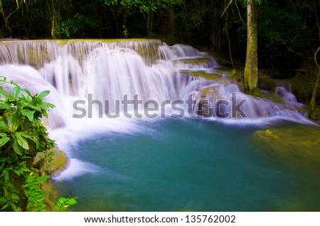 Deep forest waterfall ,Thailand - stock photo
