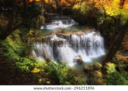 Deep forest waterfall, Thailand. - stock photo