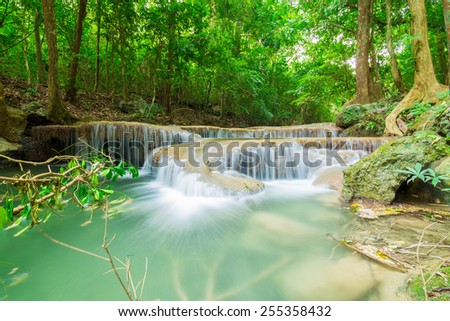 Deep forest Waterfall with green leaf of tree in Kanchanaburi, Thailand