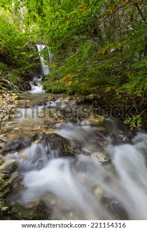 Deep forest waterfalls in the Transylvanian Alps in autumn