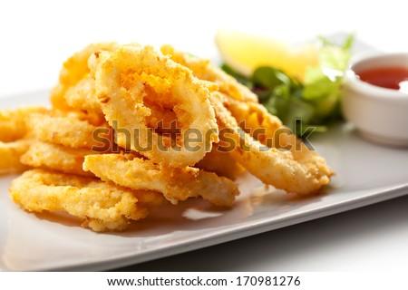 Deep Fried Calamari Rings - stock photo