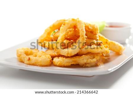 Deep Fried Calamari Rings. Isolated over White - stock photo