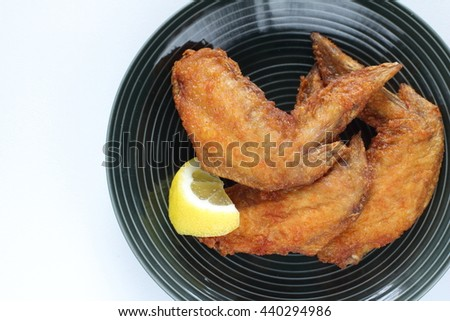 deep fried chicken and lemon for asian fastfood image - stock photo