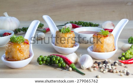Deep Fried Chicken Roll, Thai food chinese style - stock photo
