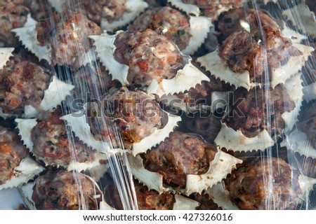 deep-fried crab meat and minced pork in crab shell - stock photo