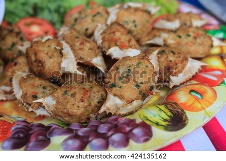 Deep-fried crab meat and minced pork in crab shell,thai style food - stock photo