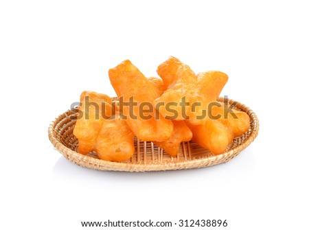 deep fried dough stick  on white background