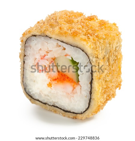 Deep-fried Japanese roll with crab meat, cucumber, caviar, crispy breading  - isolated over white - with shadow - stock photo