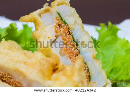 deep fried lotus root with cod roe, Japanese - stock photo