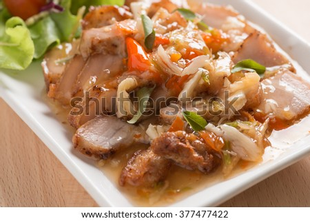 Deep fried pork Chinese Style belly with spicy sauce - stock photo