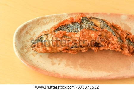 Deep fried rainbow trout, oncorhynchus mykiss - stock photo