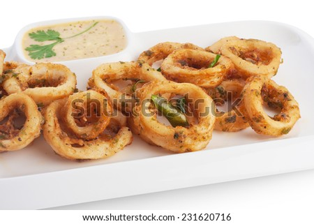 Deep fried squid & soft batter serve with tartar sauce, on white. - stock photo