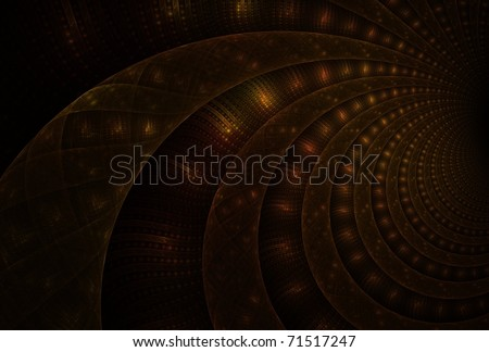 Deep gold abstract fractal arch on black background - stock photo