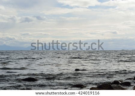 deep majestic ocean and mountain landscape in the northern Norway