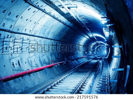 Deep metro tunnel under construction - stock photo