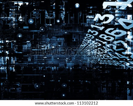 Deep Networking series. Backdrop composed of industrial grunge texture, numbers and dark gradients and suitable for use in the projects on computing, industrial design and modern technology - stock photo