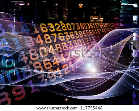 Deep Networking series. Backdrop of  industrial grunge texture, numbers and dark gradients to complement your design on the subject of computing, industrial design and modern technology - stock photo