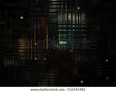 Deep Networking series. Composition of  industrial grunge texture and dark gradients to serve as a supporting backdrop for projects on computing, industrial design and modern technology