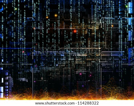 Deep Networking series. Composition of industrial grunge texture, numbers and dark gradients suitable as a backdrop for the projects on computing, industrial design and modern technology - stock photo