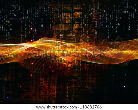 Deep Networking series. Creative arrangement of industrial grunge texture, numbers and dark gradients to act as complimentary graphic for subject of computing, industrial design and modern technology - stock photo