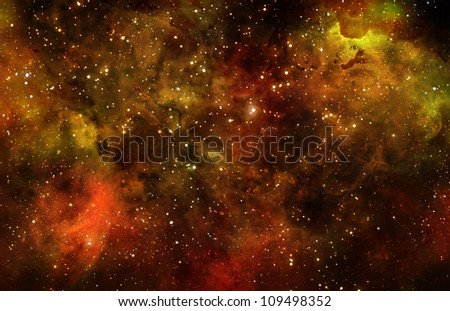 deep outer space background with stars and nebula - stock photo