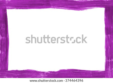 Deep pink painted narrow freehand frame on white background, paintbrush marks show in paint - stock photo