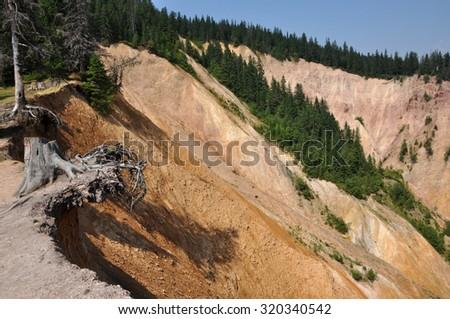 Deep ravine, erosion landscape - stock photo