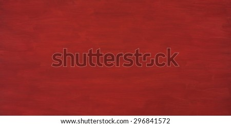 Deep Rich, Dark Barn Red Painted Plywood Board Plank from Above top View with Blank Background Room or Space for Copy, Text, Your Words or Design.  Extra Wide Horizontal that can be used vertical - stock photo