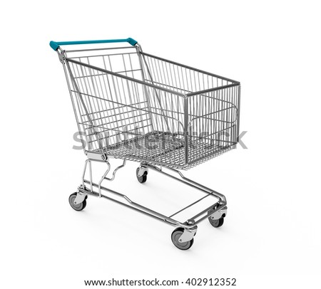 Deep Sky Blue Cyan Aqua Shopping cart isolated on white background. 3D Rendering, 3D Illustration. - stock photo