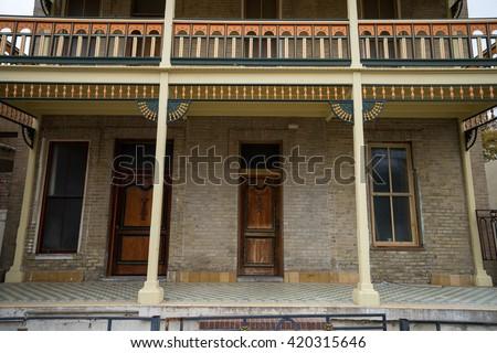 deep south spanish architecture in laredo texas - stock photo