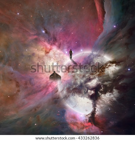 Deep space background with human being 3D Render Elements of this image furnished by NASA - stock photo
