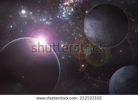 Deep space exoplanet illustration - stock photo