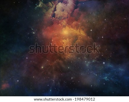 Deep Space series. Abstract arrangement of nebula, stars and colors suitable as background for projects on astronomy, science, space and religion - stock photo