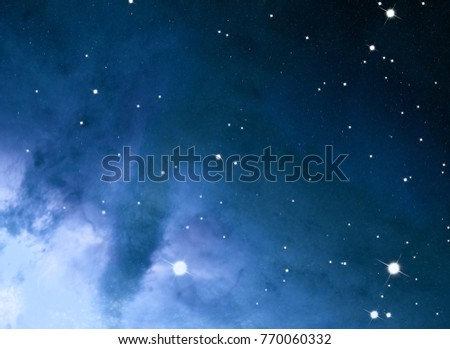 Deep space star field. Universe filled with stars and gas. Far distant cosmos Illustration.