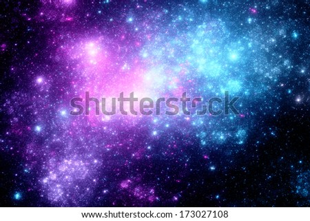 Deep space with nebula, computer generated fractal artwork