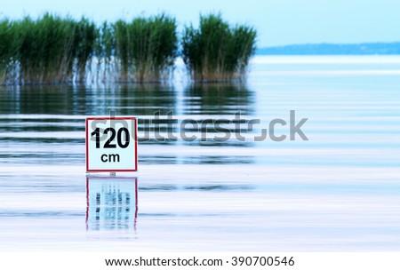 Deep water warning at Lake Balaton - stock photo