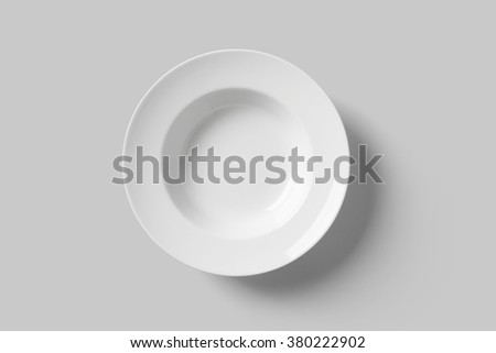 Deep white plate - stock photo