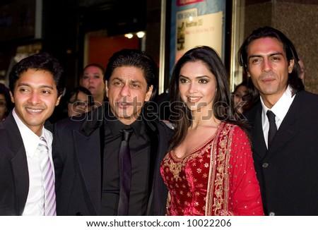 Deepika Padukone, Shah Rukh Khan, Deepika Padukone and Arjun Rampal at the Bollywood Film premiere of Om Shanti Om in London - stock photo