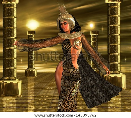 Deeply Desired. An Egyptian sovereign uses her alluring powers to command the gods of the sun to bestow their blessings upon her people. A gold Egyptian crown signals her connection with the gods. - stock photo