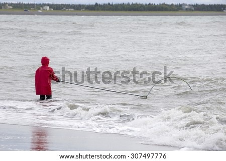Deepnetting for King Salmon in Kenai, Alaska - stock photo